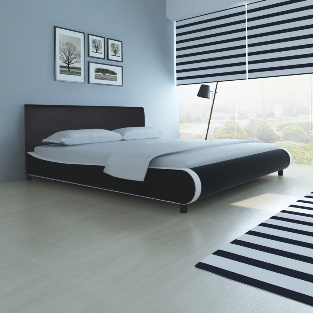 lit rembourr en cuir synth tique de 180 cm noir. Black Bedroom Furniture Sets. Home Design Ideas