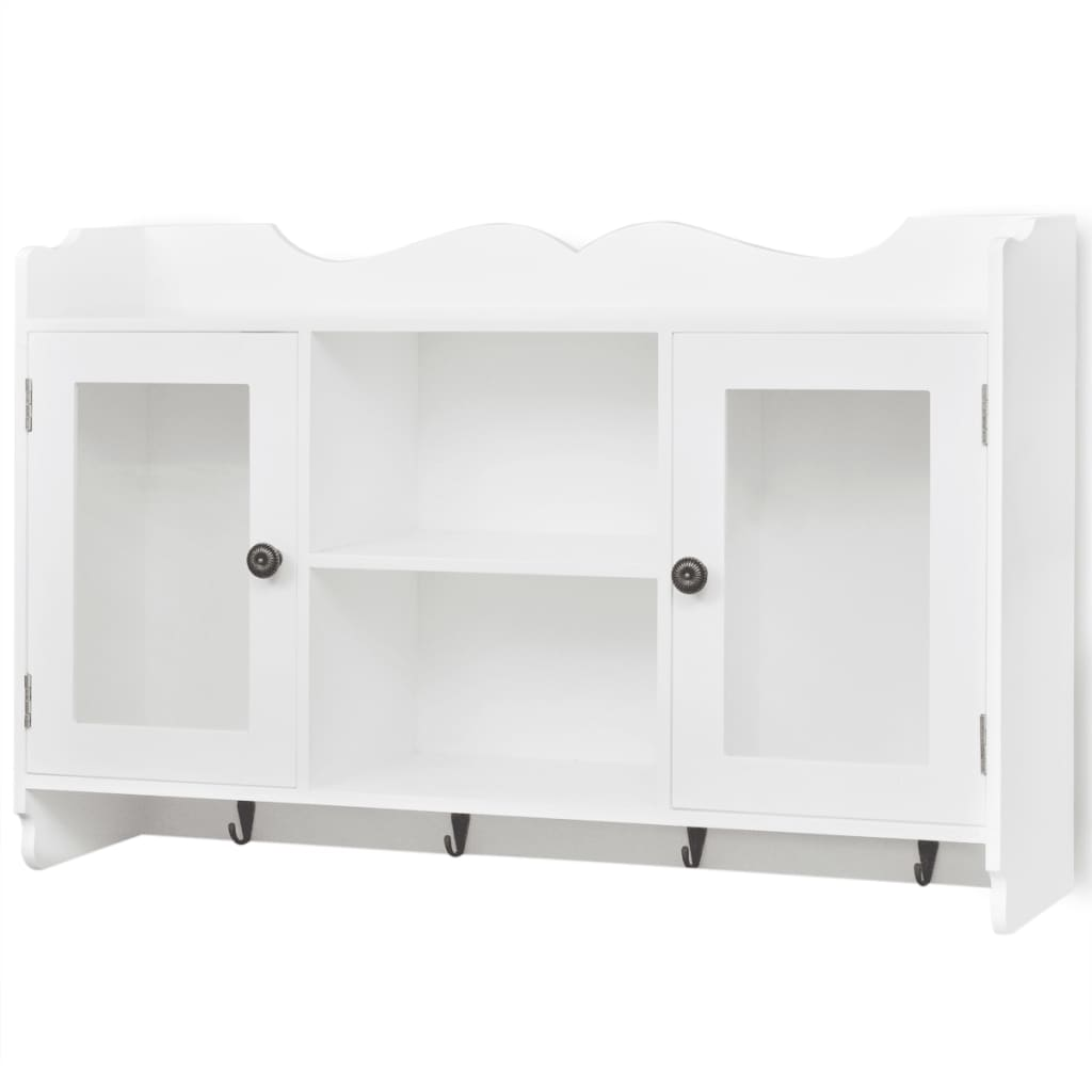 la boutique en ligne vitrine murale avec tag re de livre dvd verre en mdf blanc. Black Bedroom Furniture Sets. Home Design Ideas