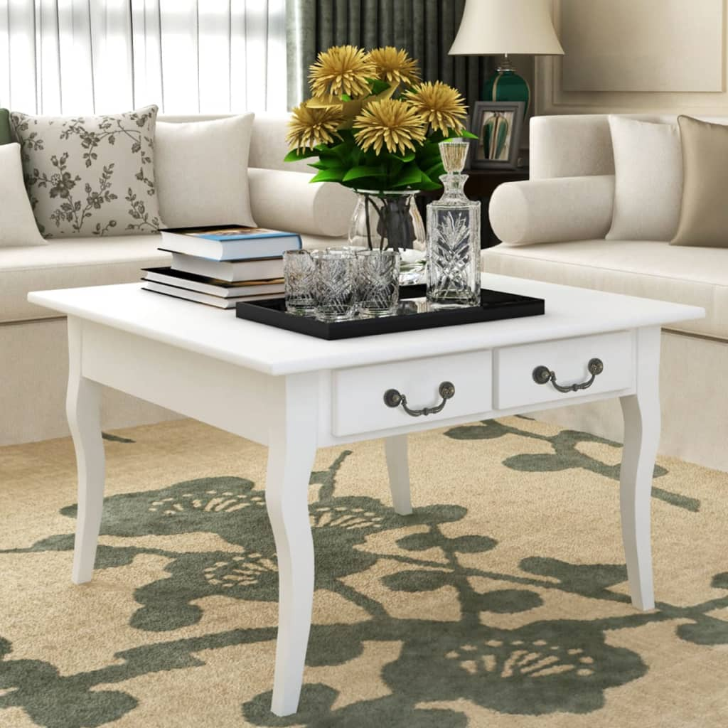 Coffee tea side end table storage drawer living room - White wooden living room furniture ...