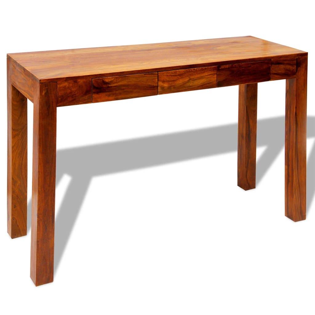la boutique en ligne console table cabinet buffet en bois massif sheesham 3 tiroirs 80 cm. Black Bedroom Furniture Sets. Home Design Ideas