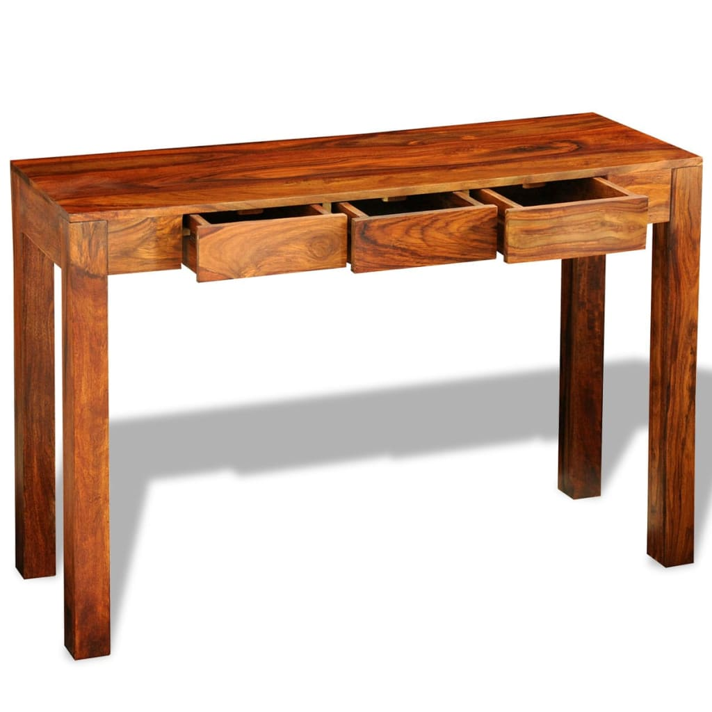 Solid sheesham wood console table cabinet sideboard 3 drawers 80 cm - Sofa table with cabinets ...