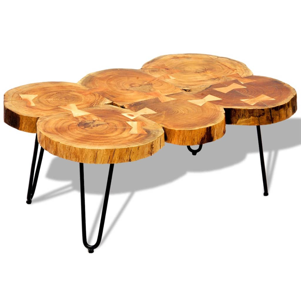 vidaXL Tömör indiai rózsafa dohányzóasztal 35 cm 6 rönkből