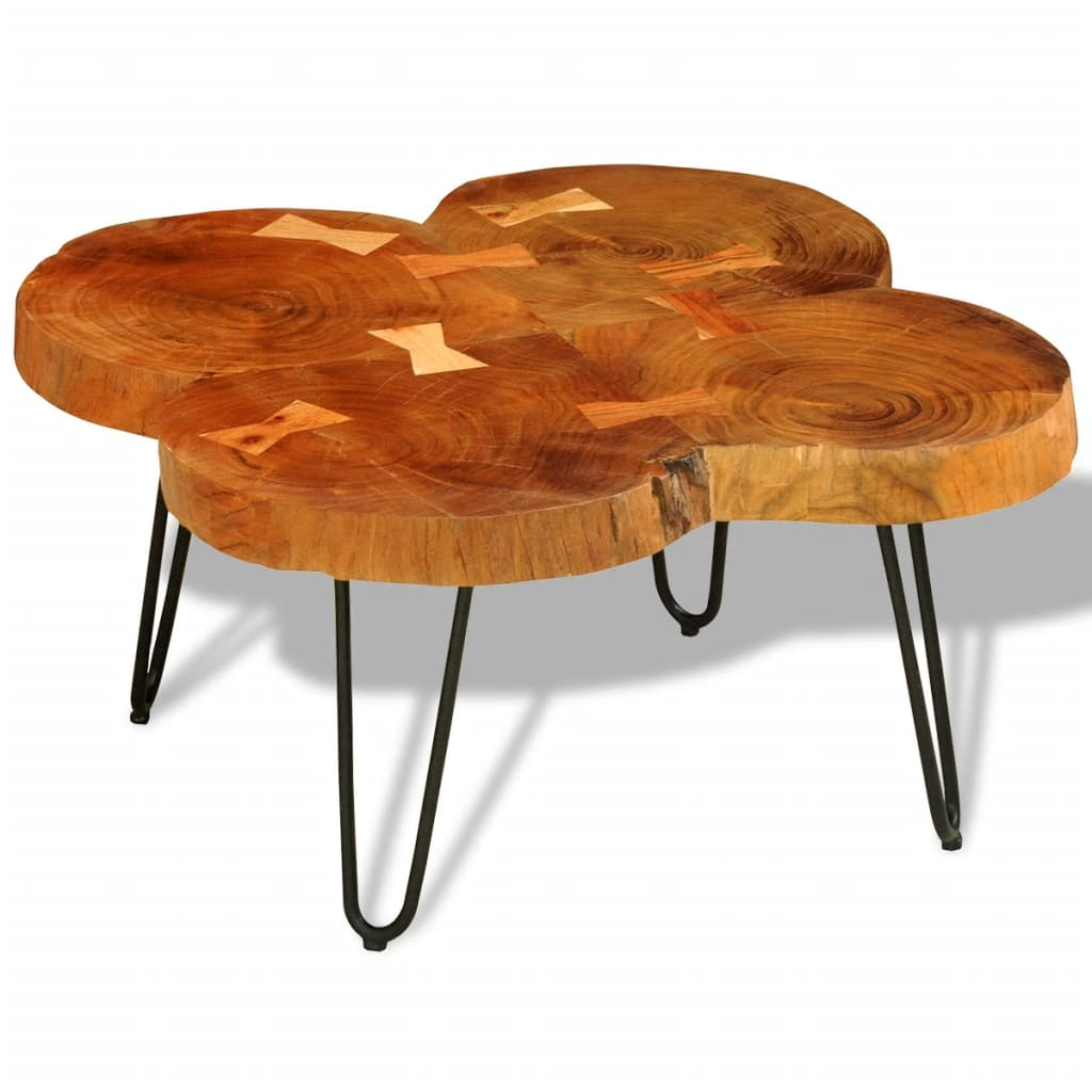 vidaXL Tömör indiai rózsafa dohányzóasztal 35 cm 4 rönkből