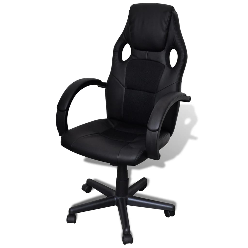 Artificial Leather Office Chair Height Adjustable Swivel Black
