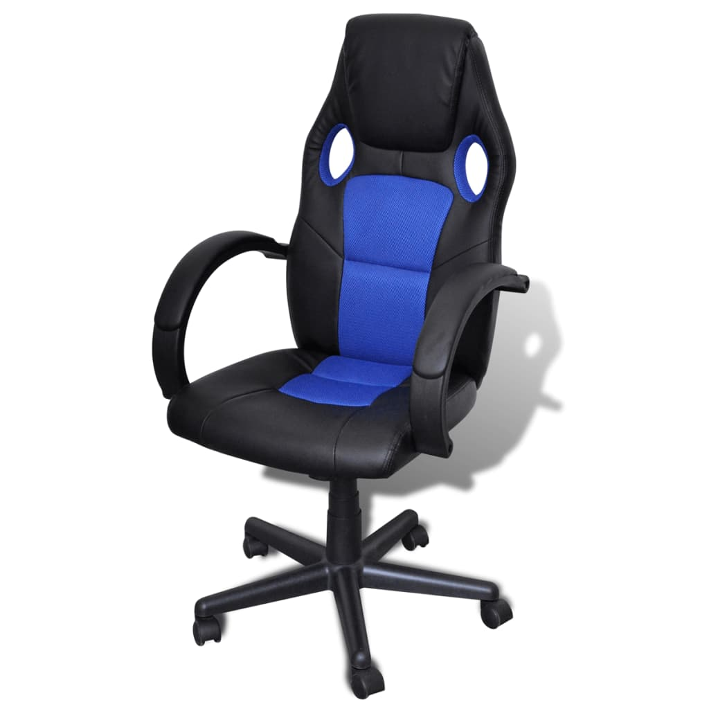 Artificial leather office chair height adjustable swivel for Blue office chair
