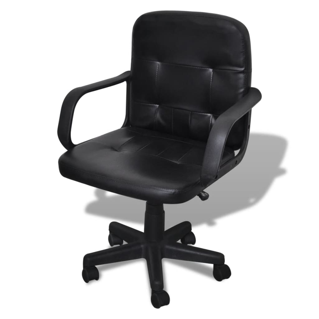 Luxury Leather Office Chair Height Adjustable Swivel Black