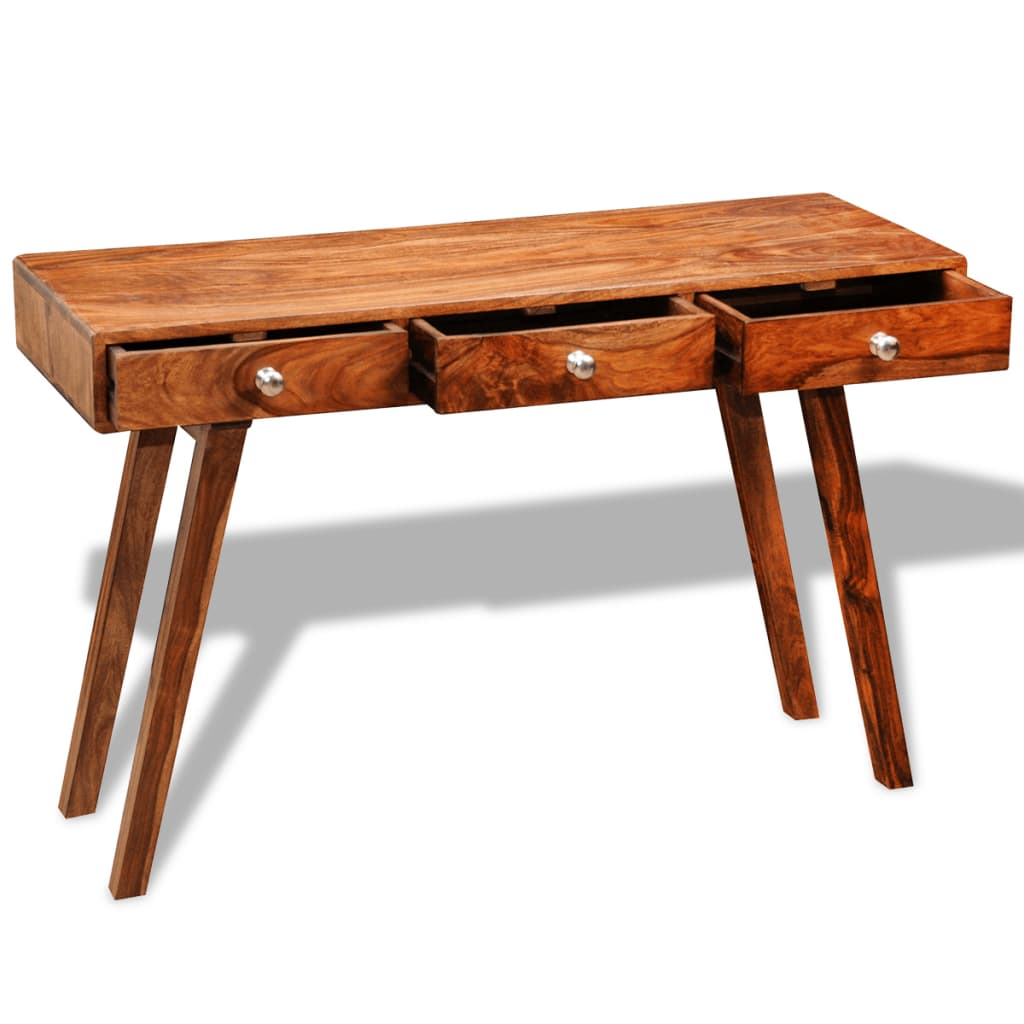 Solid sheesham wood sideboard console table cabinet vintage 76 cm - Sofa table with cabinets ...