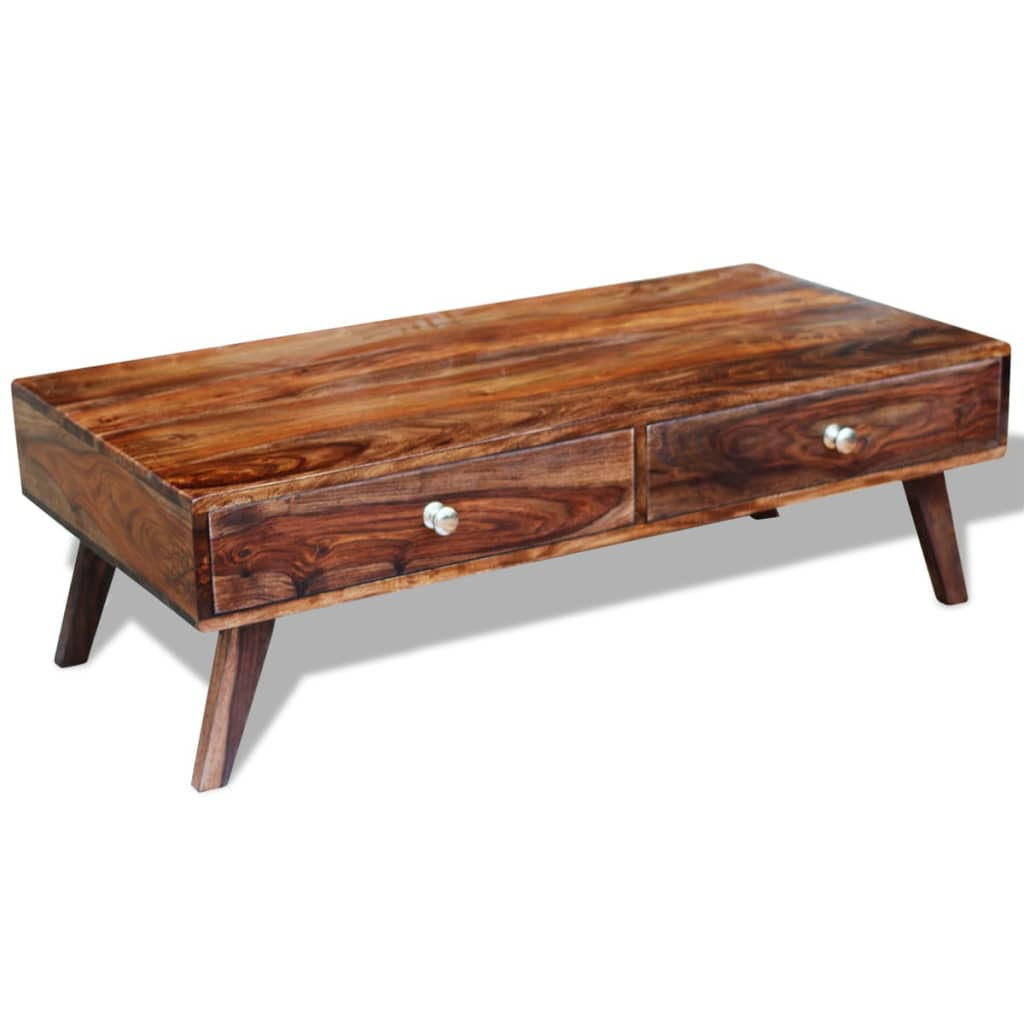 Solid Sheesham Wood Coffee Table 4 Drawers Vintage Retro 35 Cm