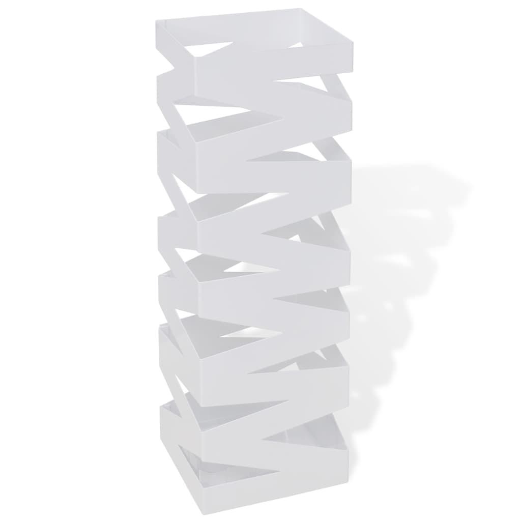 vidaXL Schirmhalter Schirmständer Gehstock Stahl weiß quadratisch 48,5 cm