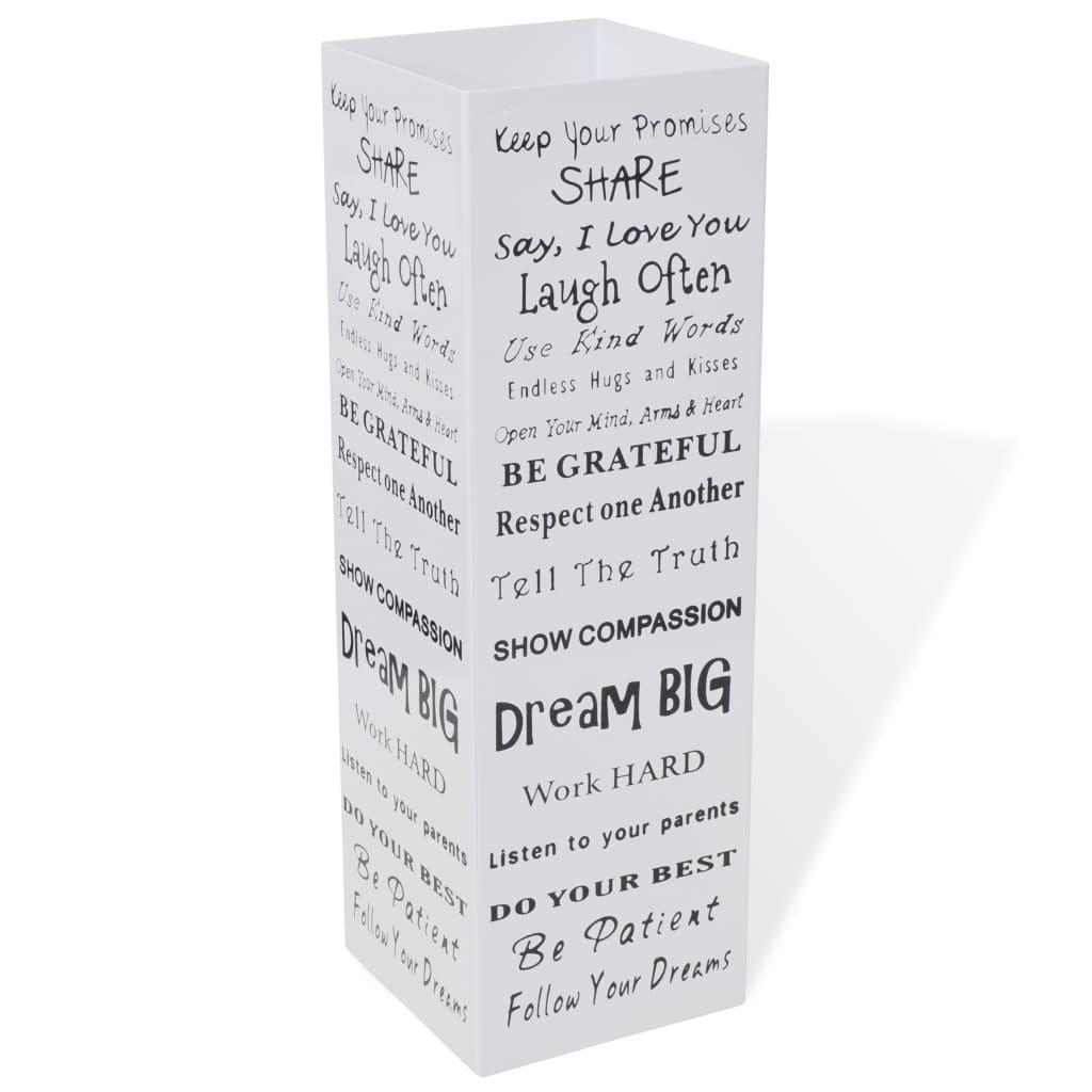 Afbeelding van vidaXL Paraplu- en wandelstokhouder wit vierkant + tekst staal 48,5 cm
