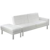White Adjustable Sofa Bed Artificial Leather