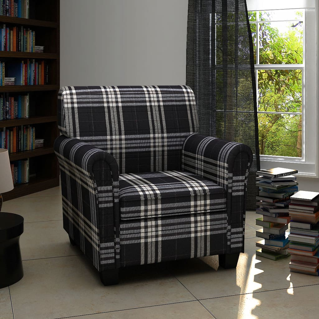 Rolled Arm Accent Club Chair Cushion Fabric Black