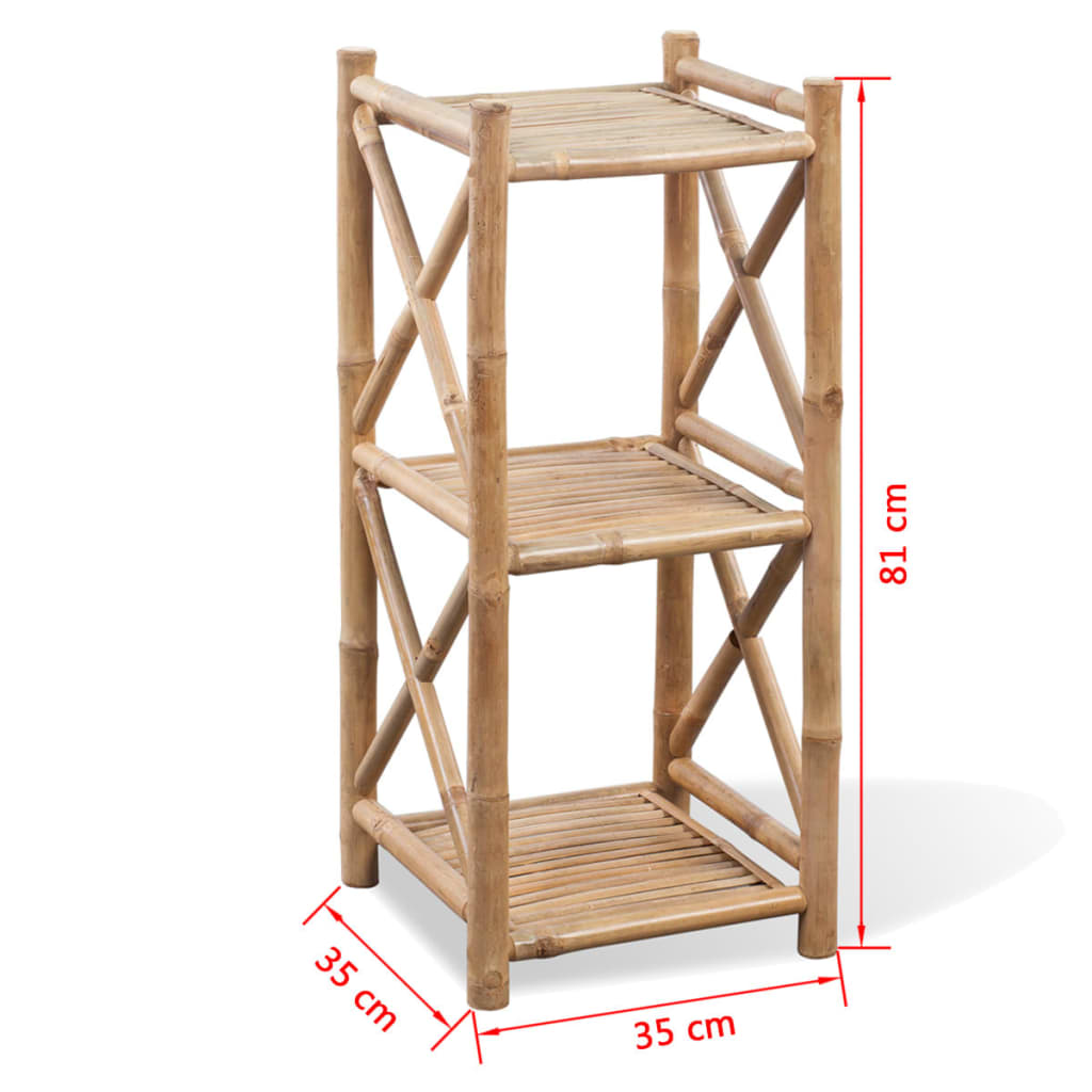 Scaffale a 3 piani in legno di bamb for Piani di coperta in legno