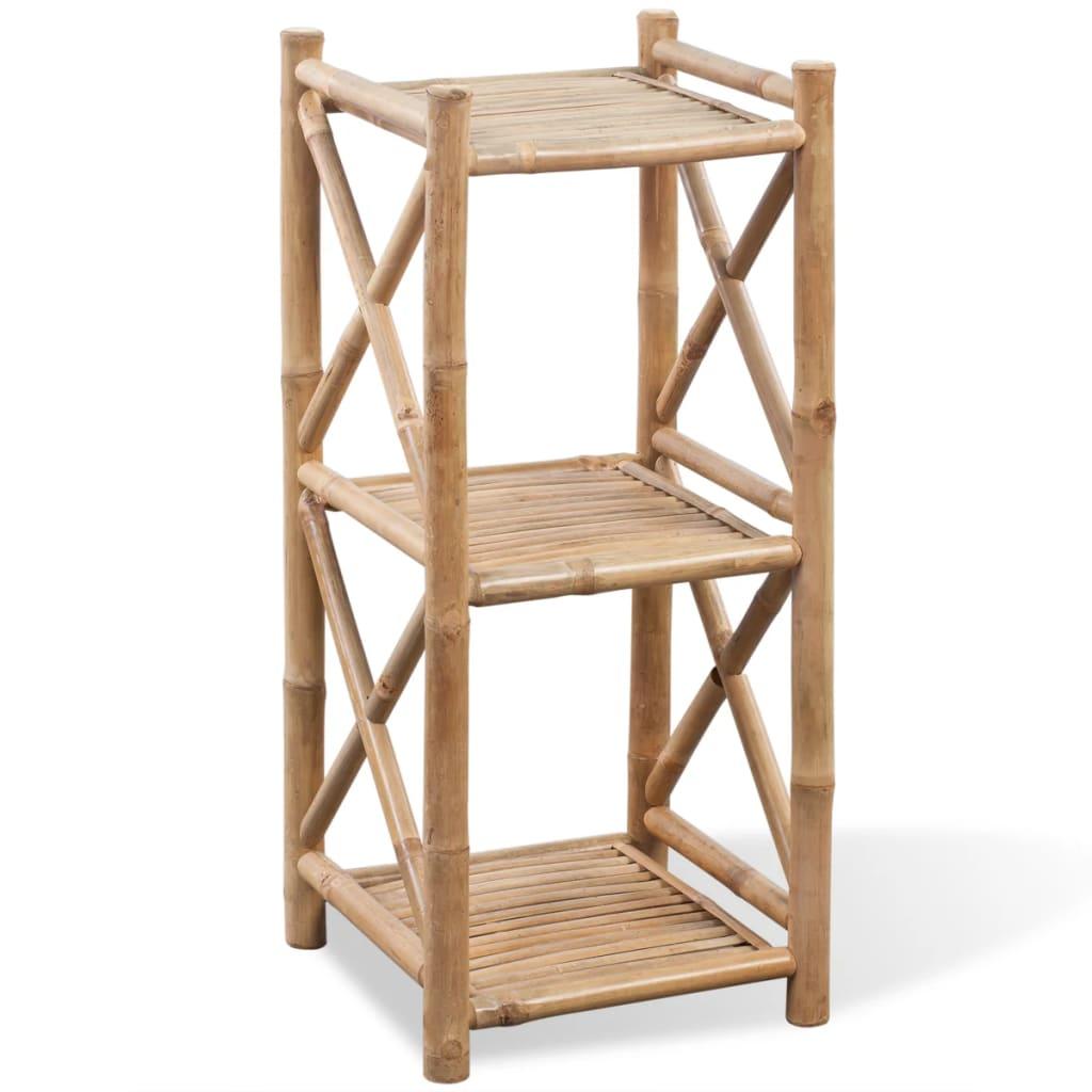 vidaXL 3 szintes szögletes bambusz polc