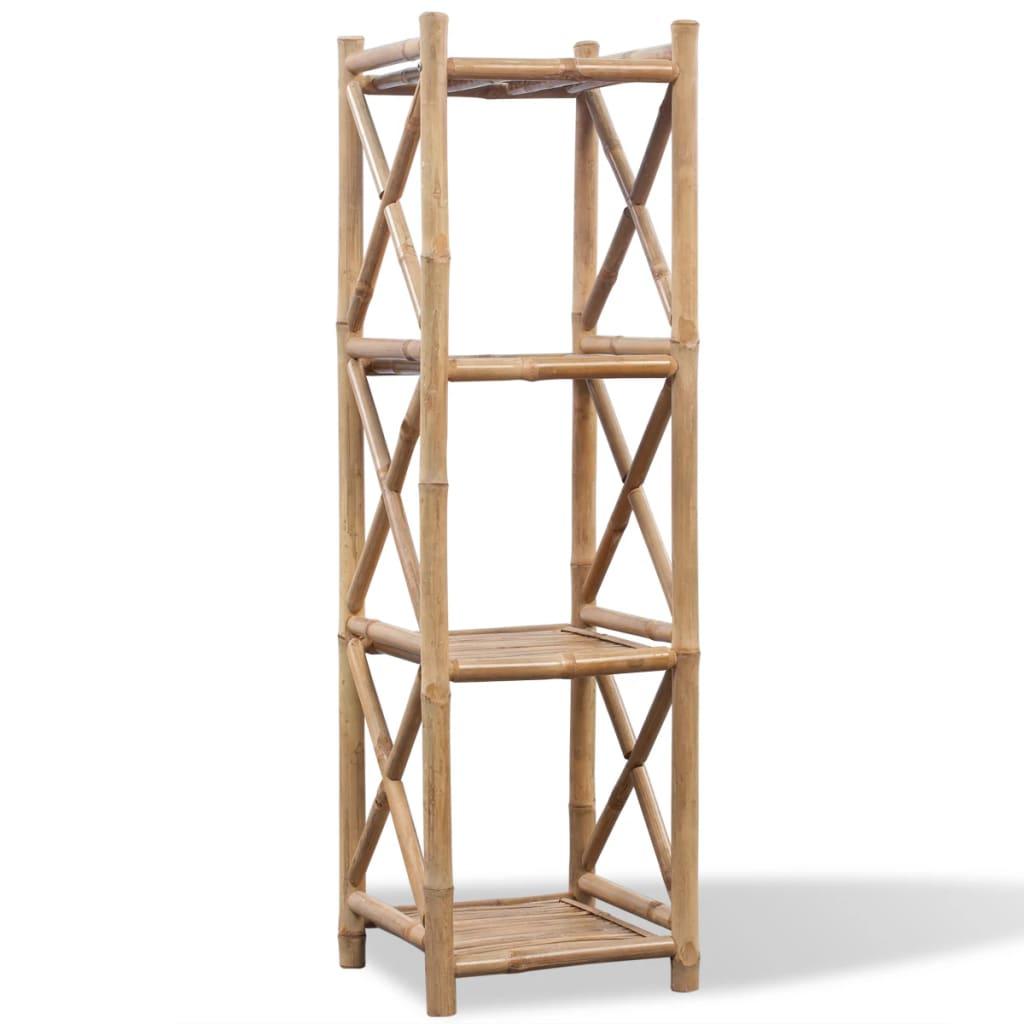vidaXL 4 szintes szögletes bambusz polc