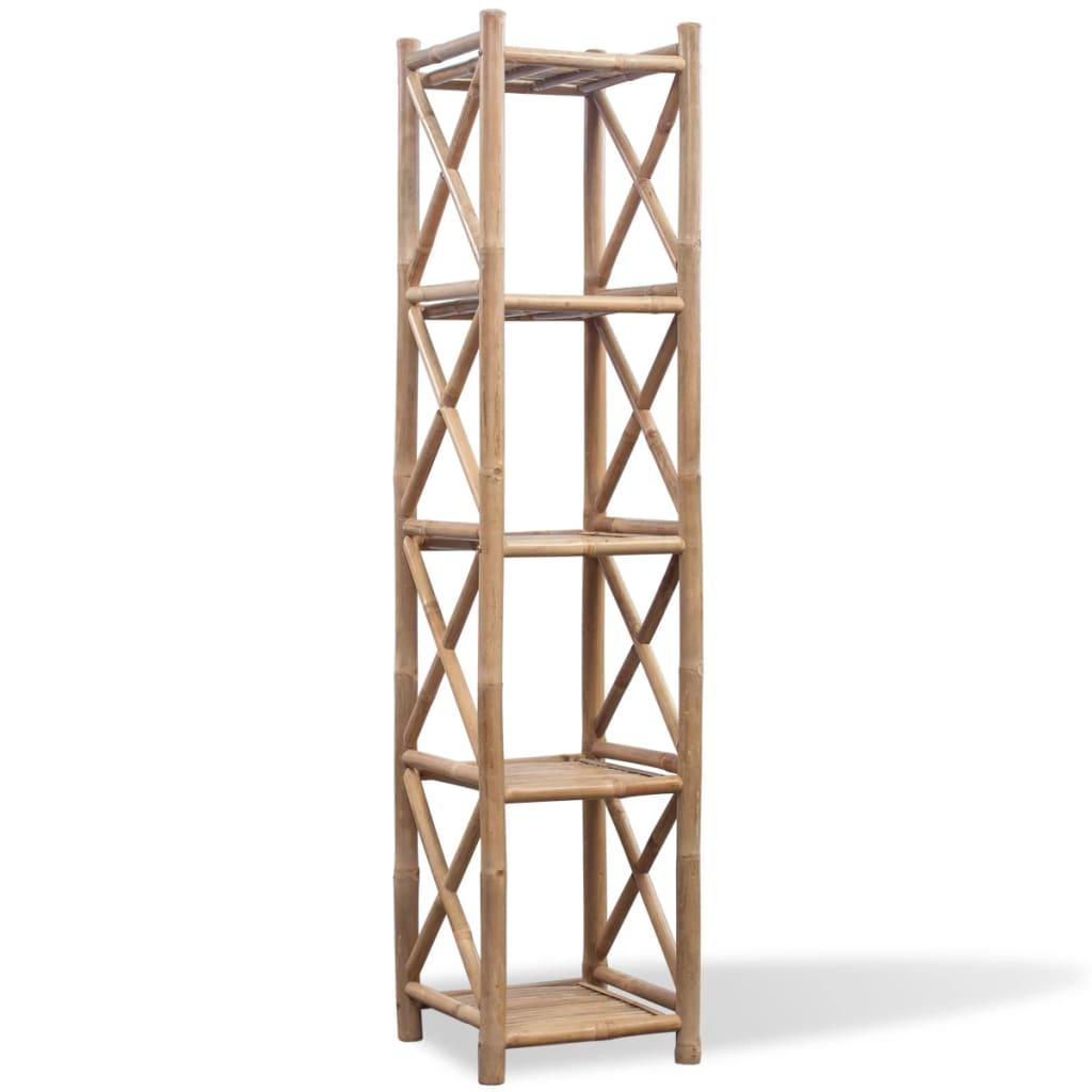 vidaXL 5 szintes szögletes bambusz polc