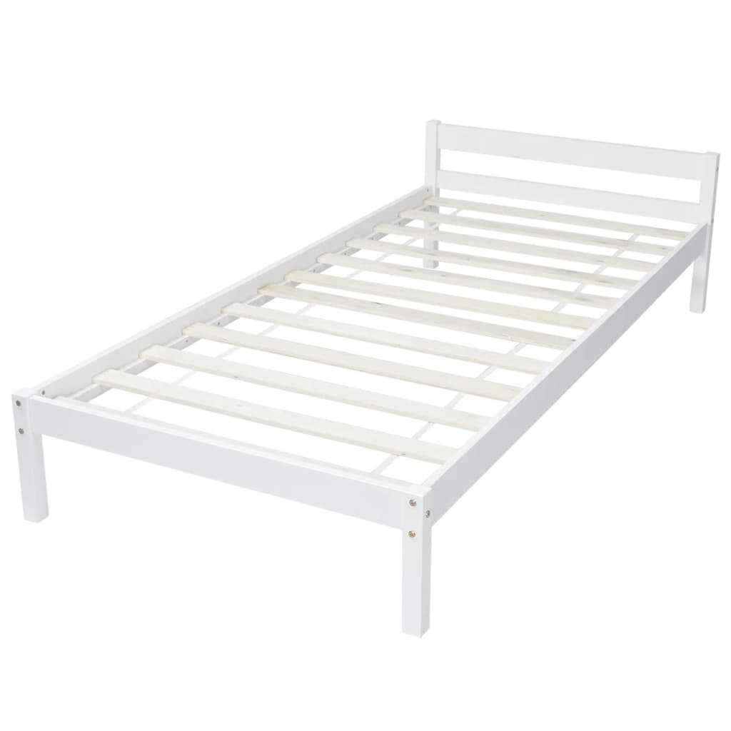 White solid pinewood bed 200 x 90 cm for 90 cm sofa bed