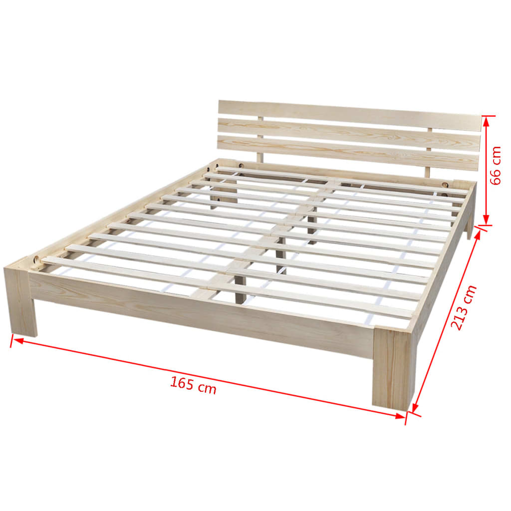 Natural solid pinewood bed 200 x 160 cm for Beds 120 x 200