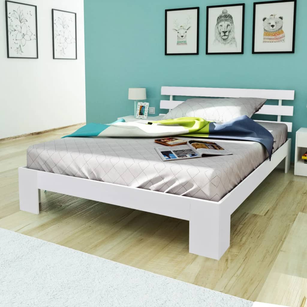 acheter lit en bois de pin massif blanc 200 x 140 cm pas cher. Black Bedroom Furniture Sets. Home Design Ideas