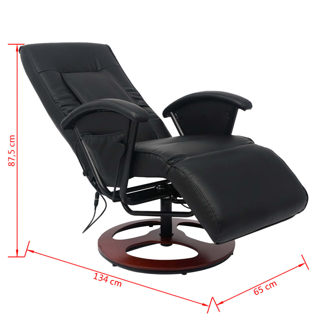 acheter vidaxl fauteuil de massage shiatsu demi pu noir pas cher. Black Bedroom Furniture Sets. Home Design Ideas