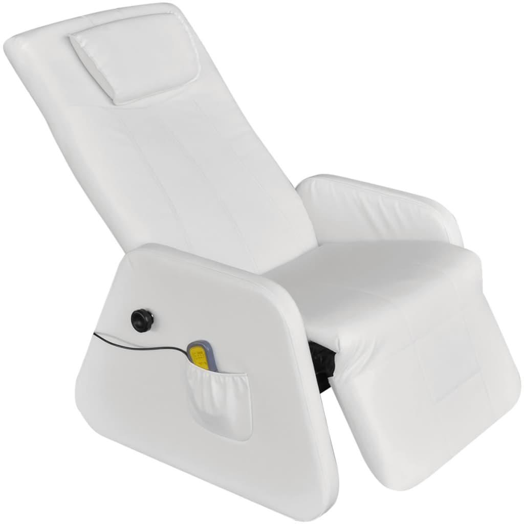 vidaXL Massagestoel fauteuil wit elektrisch kunstleer