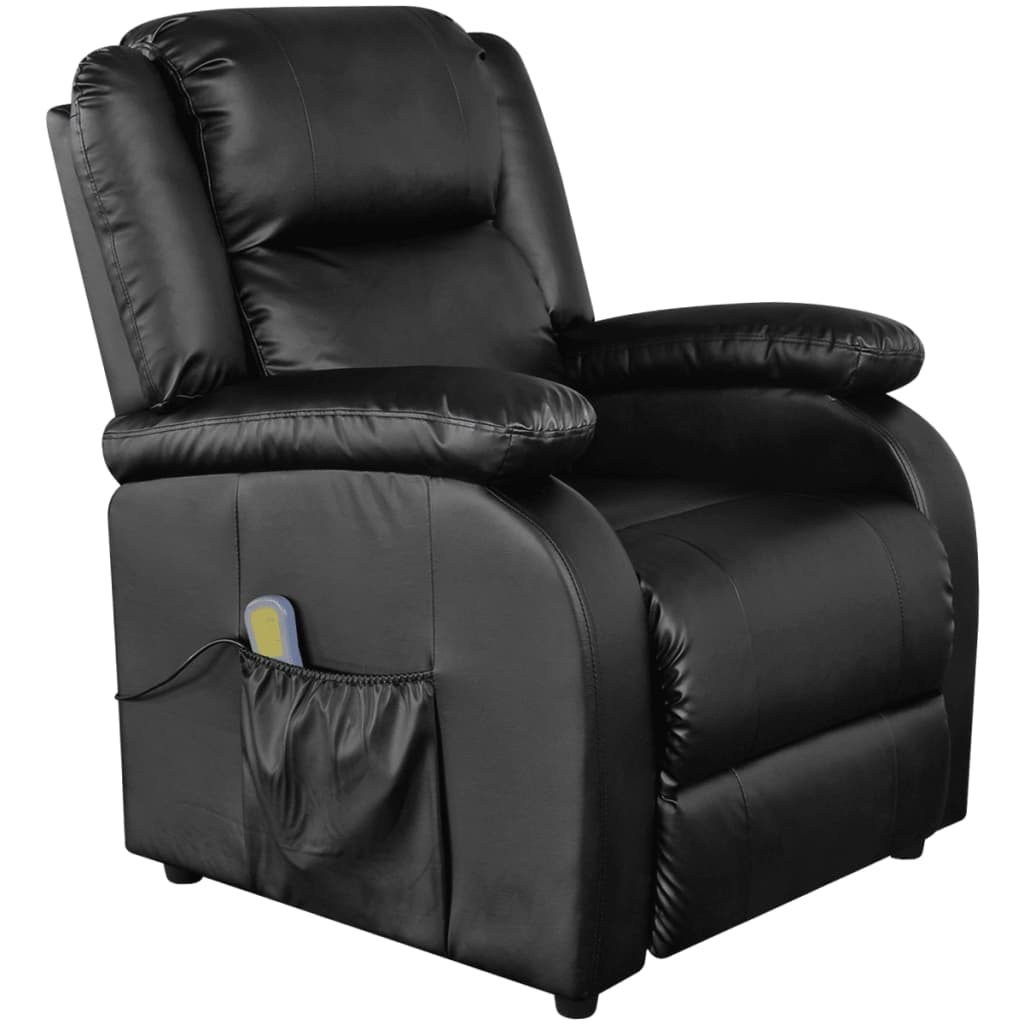 vidaXL fekete, dönthető háttámlás, műbőr elektromos masszázsszék