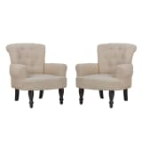 2 French Style Chairs With Armrest Cream