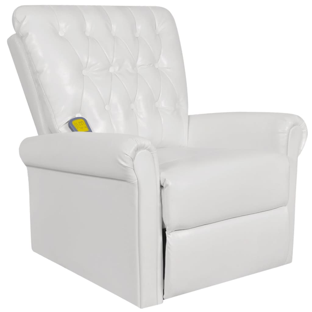White electric artificial leather recliner massage chair for White leather sofa and chair