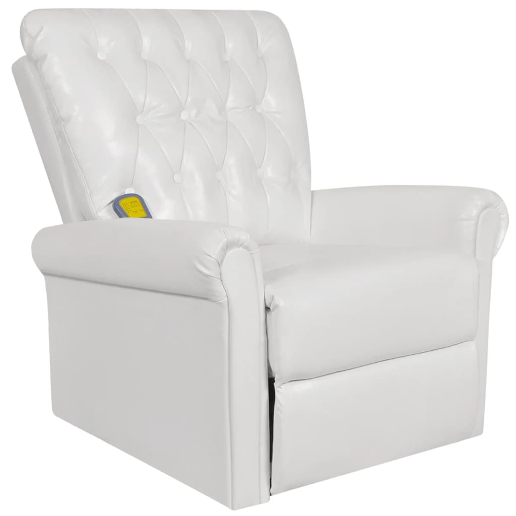 white electric artificial leather recliner massage chair  vidaxlcom - white electric artificial leather recliner massage chair