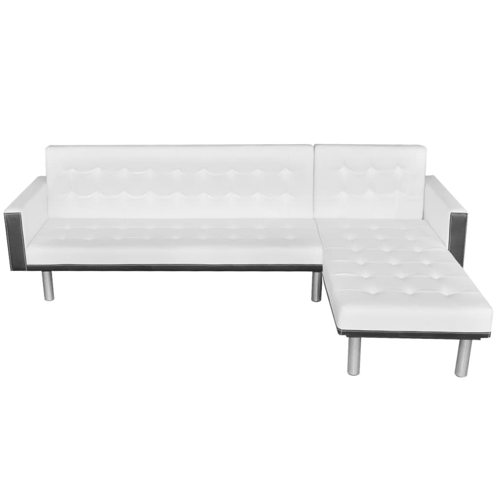 L Shaped Sofa Bed Adjustable White Black