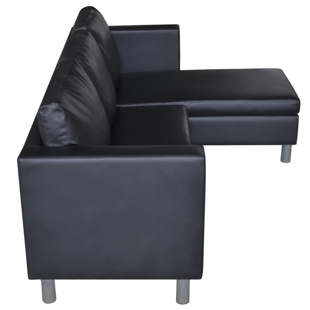 3 seater l shaped artificial leather sectional sofa black for Sofa 8 seater