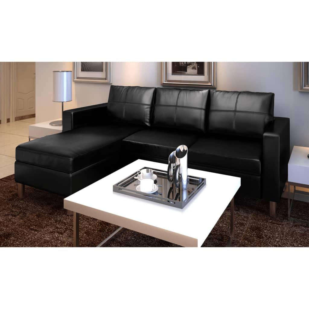 3 seater l shaped artificial leather sectional sofa black - Sofa de piel ...