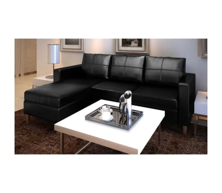 Artificial Leather Sectional Sofa Configurable Chaise Lounge Couch White/Black  sc 1 st  eBay : chaise lounge sectional sofa - Sectionals, Sofas & Couches