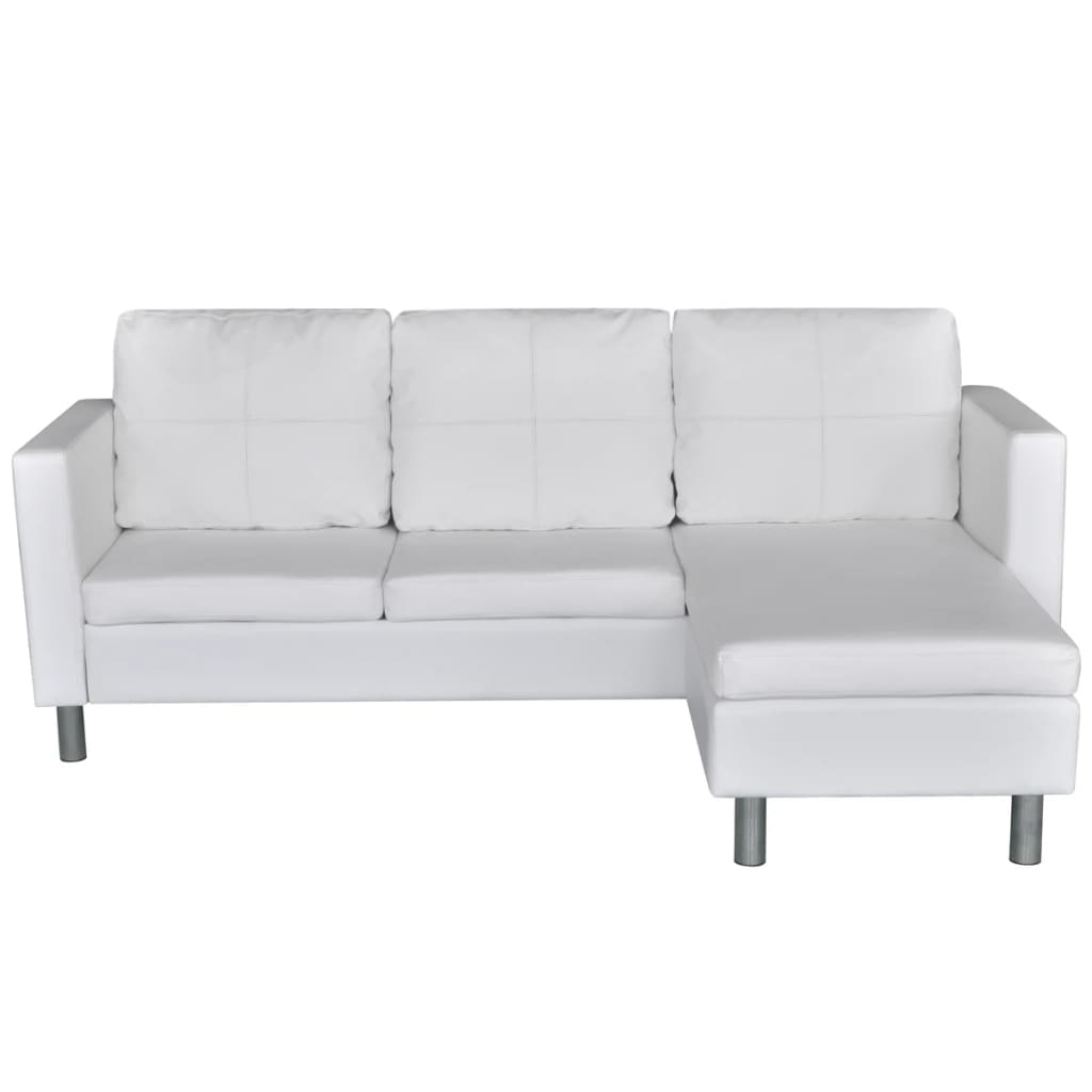 3 seater l shaped artificial leather sectional sofa white
