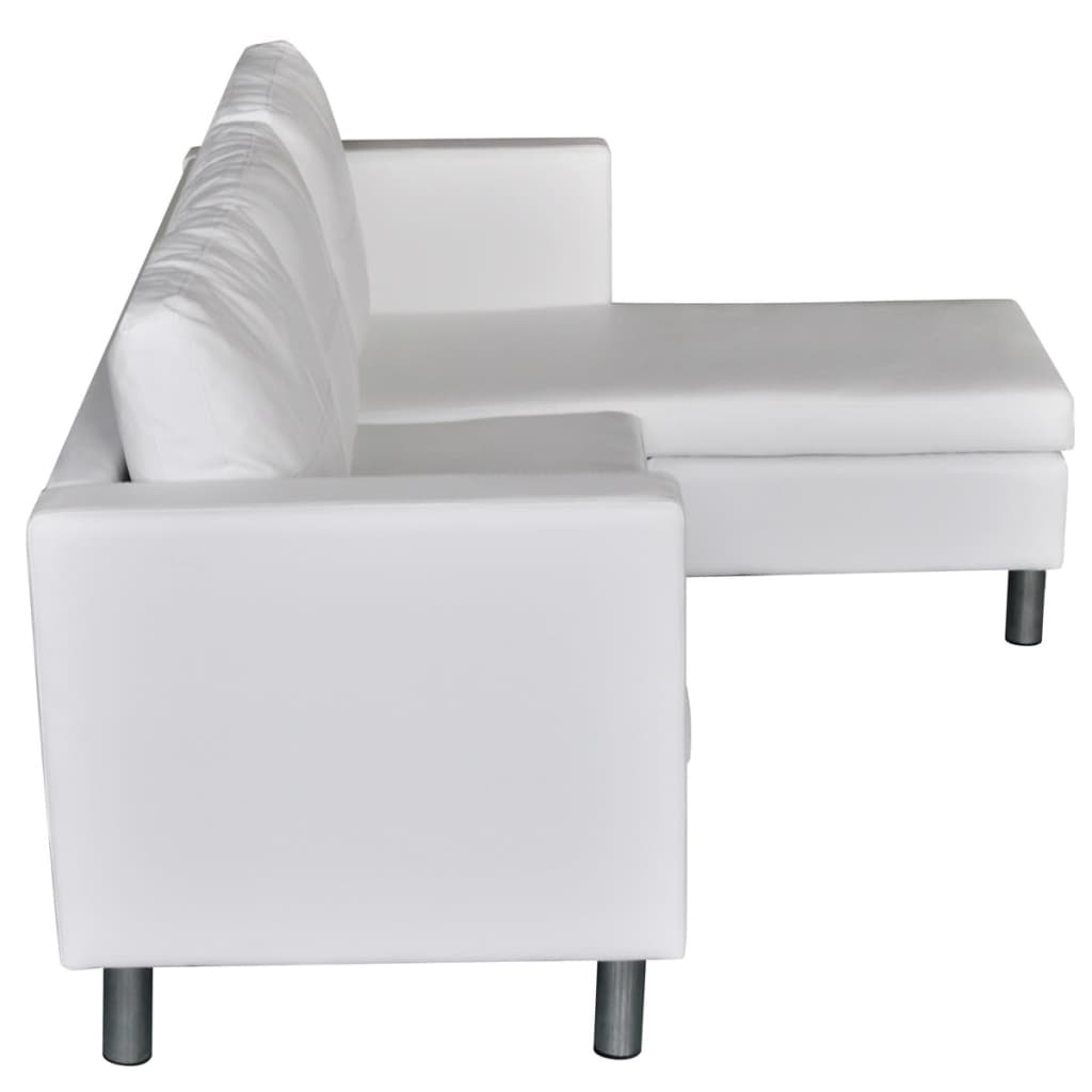 3 seater l shaped artificial leather sectional sofa white for Sofa 8 seater