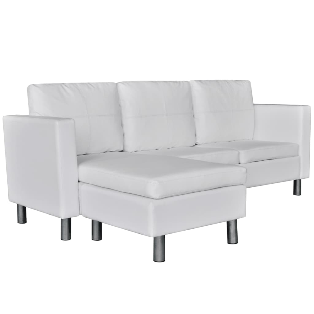 L Shaped White Leather Sofa: 3-Seater L-shaped Artificial Leather Sectional Sofa White