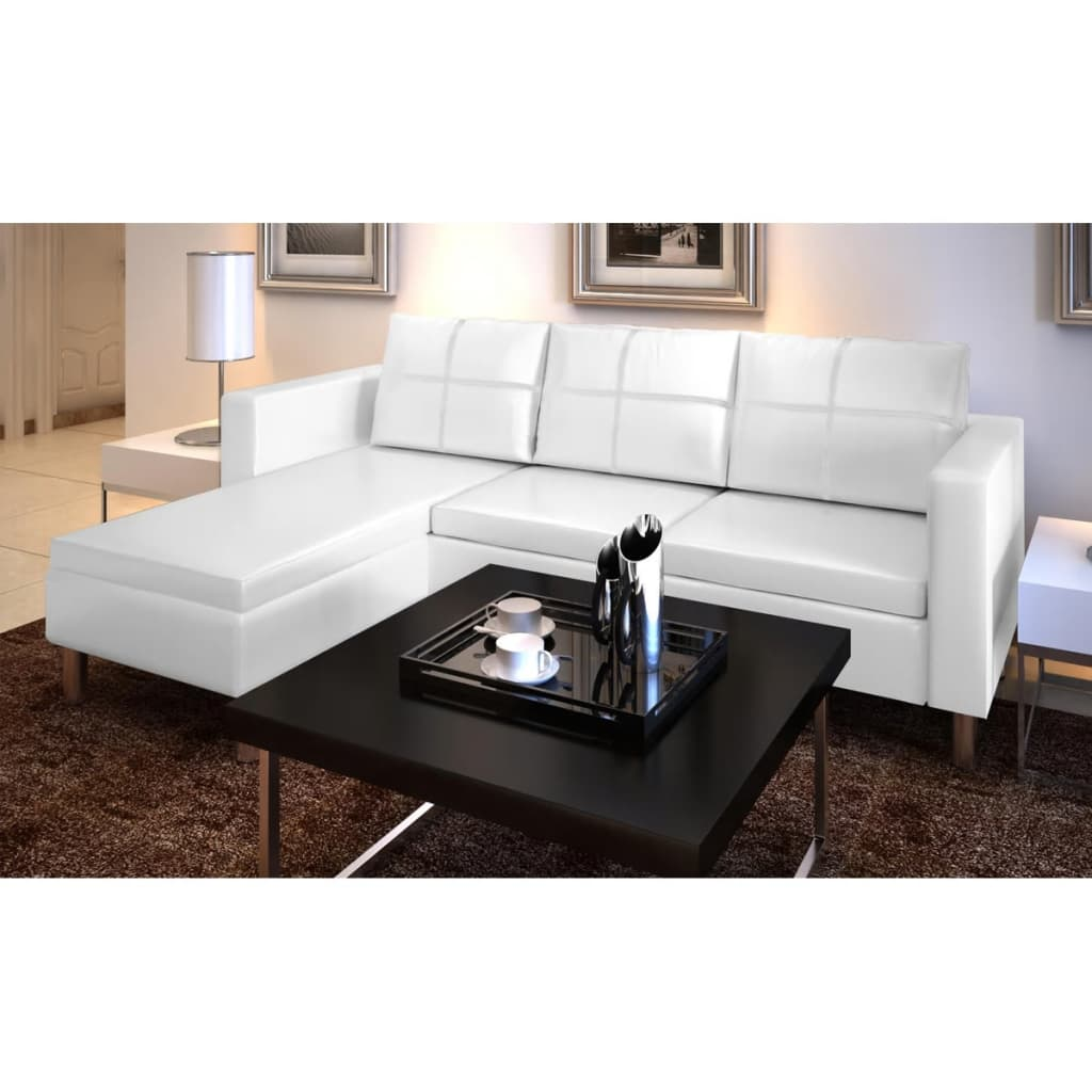 3 seater l shaped artificial leather sectional sofa white for Sofa en l liquidation