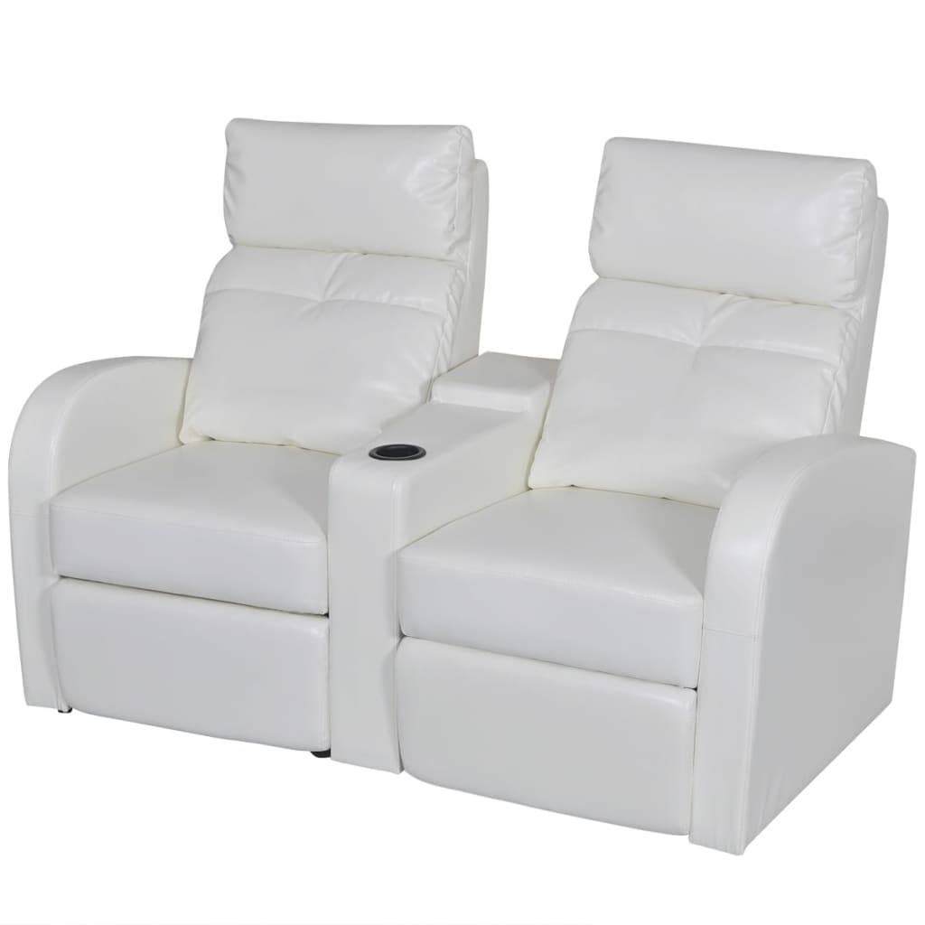 artificial leather home cinema recliner reclining sofa 2 seat white. Black Bedroom Furniture Sets. Home Design Ideas