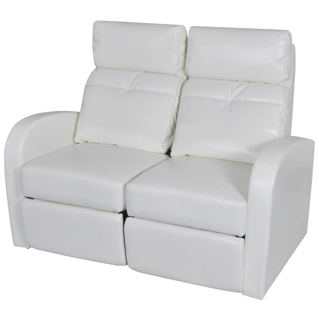 Artificial leather home cinema recliner reclining sofa 2 seat white - Sofa reclinable ...
