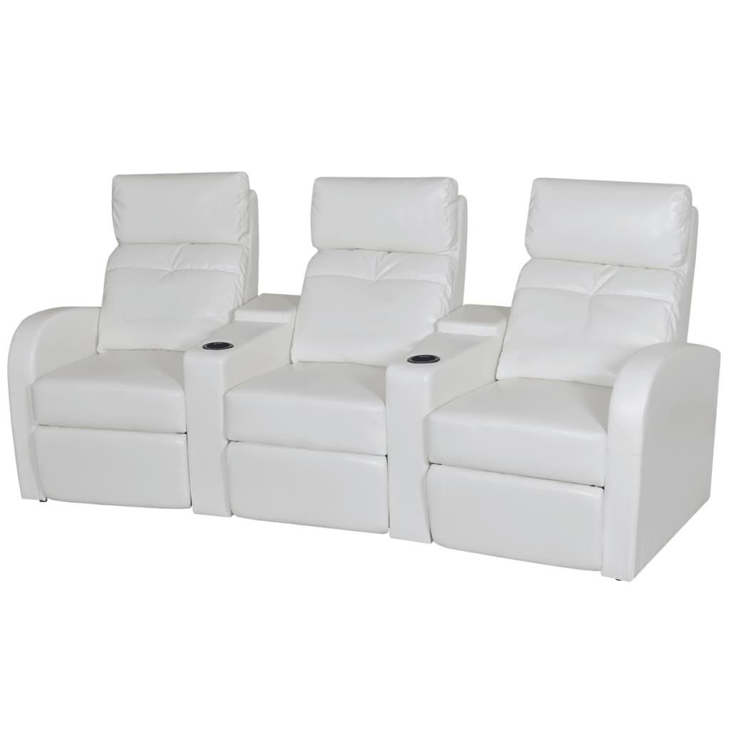 artificial leather 3 seat home theater recliner sofa lounge seats black white ebay. Black Bedroom Furniture Sets. Home Design Ideas