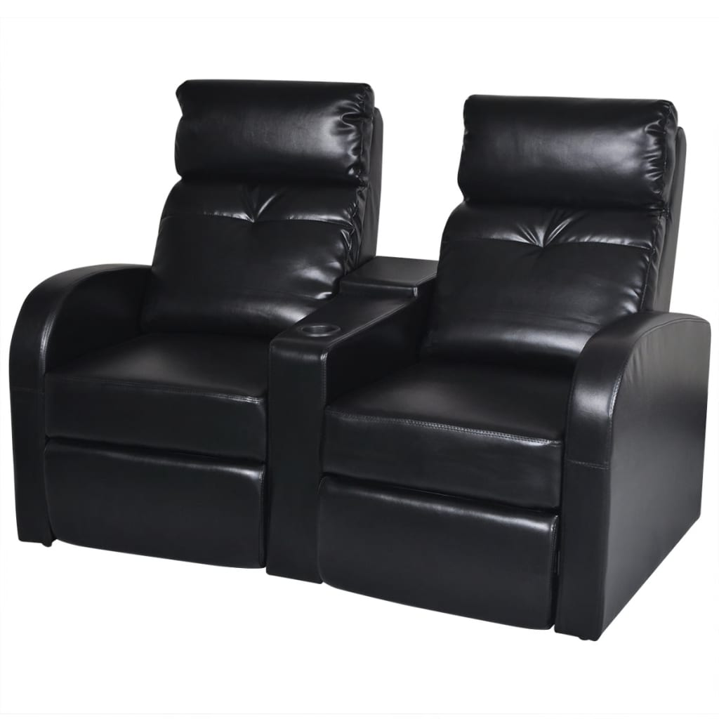 artificial leather home cinema recliner reclining sofa 2 seat black. Black Bedroom Furniture Sets. Home Design Ideas