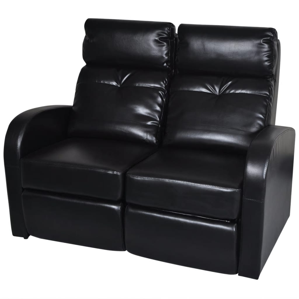Artificial Leather Home Cinema Recliner Reclining Sofa 2 Seat Black