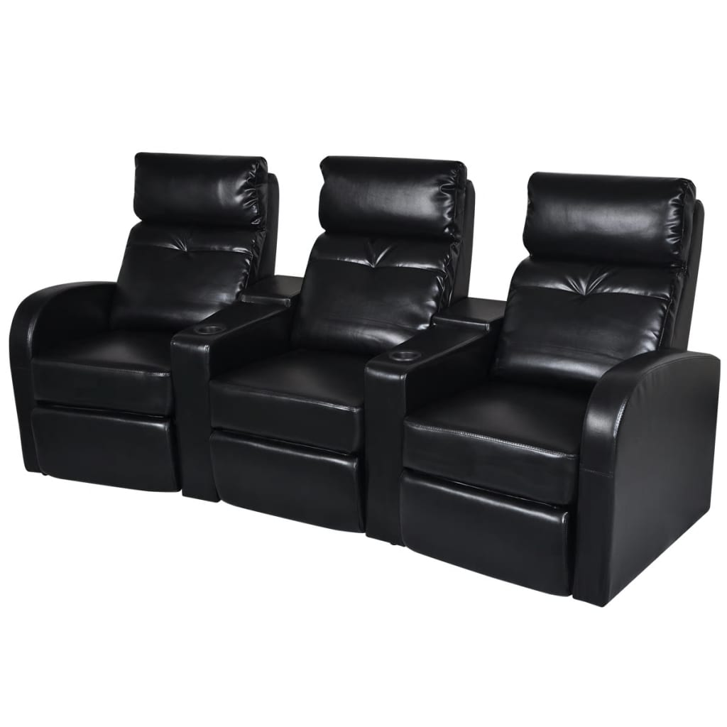 Artificial Leather Home Cinema Recliner Reclining Sofa 3 Seat Black