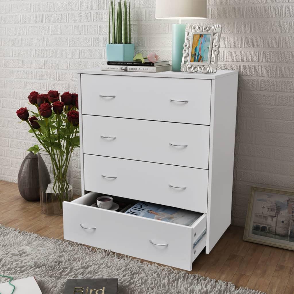 der sideboard kommode mit 4 schubladen 60 x 30 5 x 71 cm wei online shop. Black Bedroom Furniture Sets. Home Design Ideas