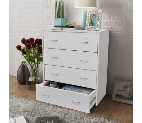 sideboard with 4 drawers 60 x 30 5 x 71 cm white vidaxl. Black Bedroom Furniture Sets. Home Design Ideas