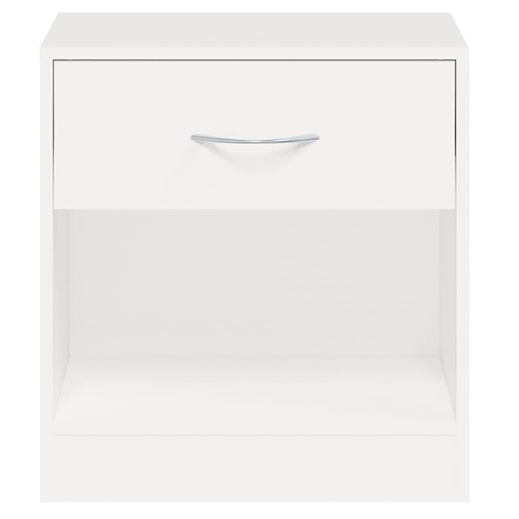 vidaXL se Sängbord vit med låda 2 st
