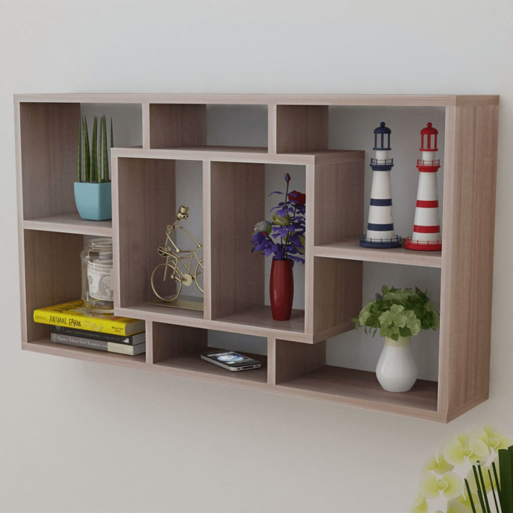 Floating Wall Display Shelf 8 Compartments