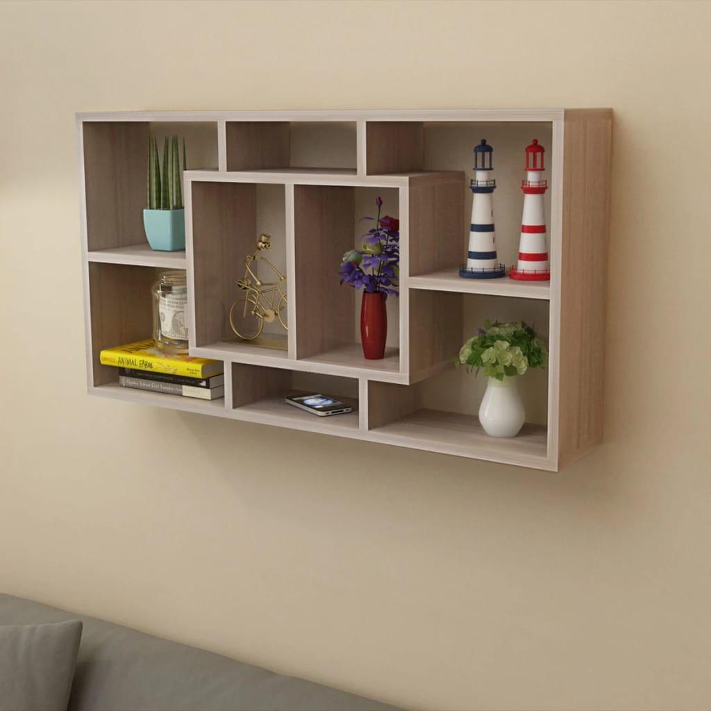 floating wall display shelf  compartments oak colour  vidaxlcouk - floating wall display shelf  compartments oak colour