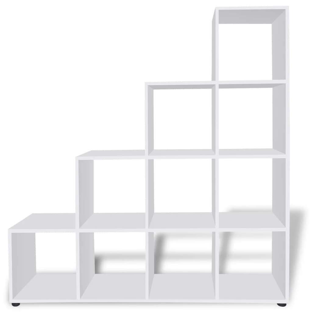 Estanter a blanca para libros en forma de escalera 142 cm - Estanteria pared blanca ...