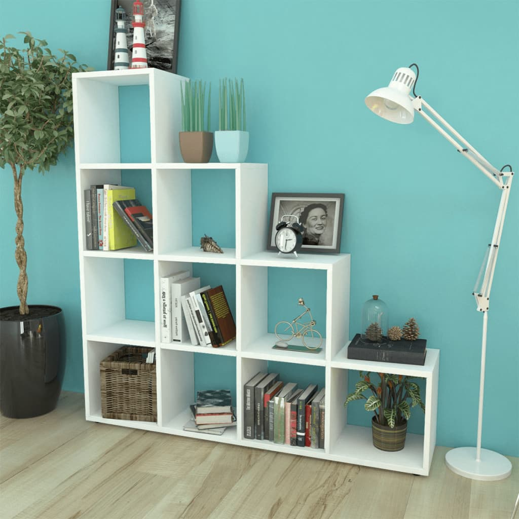 Staircase Bookcase/Display Shelf 142 Cm White
